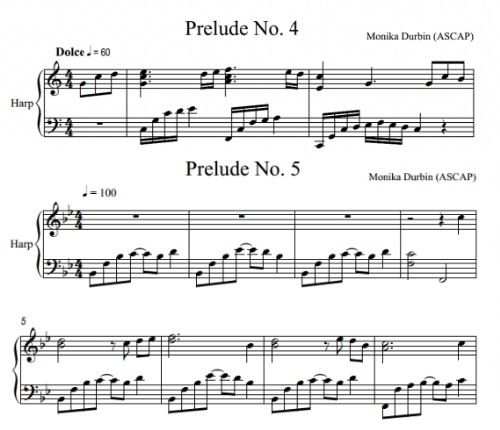 Second Additional product image for - Five Preludes for Solo Harp