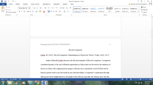 David Livingstone Annotated Bibliography | Documents and Forms | Research Papers