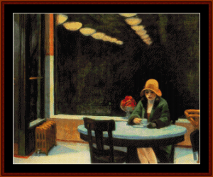 automat - edward hopper cross stitch pattern by cross stitch collectibles