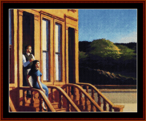 Sunlight on Brownstones - Hopper cross stitch pattern by Cross Stitch Collectibles | Crafting | Cross-Stitch | Wall Hangings