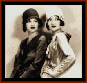 Flapper Sisters - Vintage Art cross stitch patterns by Cross Stitch Collectibles | Crafting | Cross-Stitch | Wall Hangings
