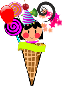 ice cream cone girl birthday card/invitation printable