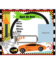 race car party invitation printable