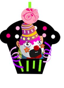 cupcake clown printable birthday design card
