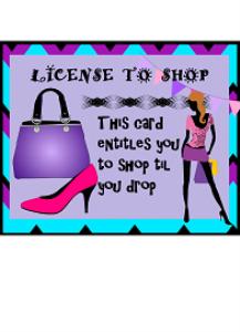 license to shop til you drop printable