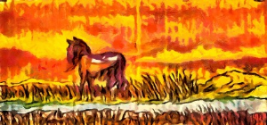 horse in the steppe