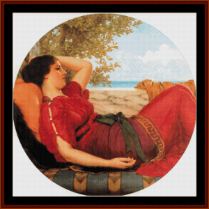 in the realms of fancy, 1911 - godward cross stitch pattern by cross stitch collectibles