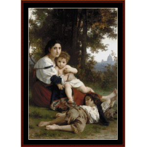 Mother and Children, 1879 - Bouguereau cross stitch pattern by Cross Stitch Collectibles | Crafting | Cross-Stitch | Wall Hangings