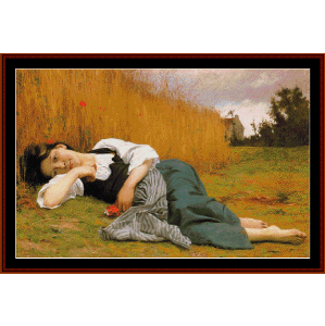Rest in Harvest - Bouguereau cross stitch pattern by Cross Stitch Collectibles | Crafting | Cross-Stitch | Wall Hangings