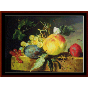 Still Life with Fruit on Marble Plinth - van Huysum cross stitch pattern by Cross Stitch Collectibles | Crafting | Cross-Stitch | Wall Hangings