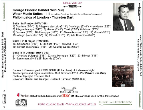 First Additional product image for - Handel: The Water Music Suite I-II-III - Philomusica of London/Thurston Dart