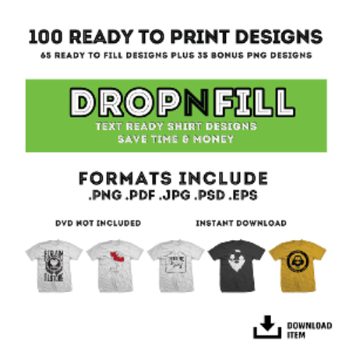 First Additional product image for - RyoArt Drop-N-Fill Vector Collection 2 - 100 T-Shirt Designs
