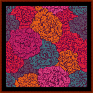 abstract floral cross stitch pattern by cross stitch collectibles
