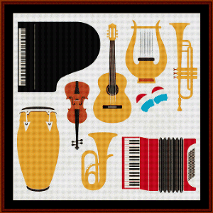 Musical Instruments - Vintage Art cross stitch pattern by Cross Stitch Collectibles | Crafting | Cross-Stitch | Wall Hangings