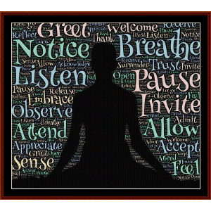 Meditation - Word Art cross stitch pattern by Cross Stitch Collectibles | Crafting | Cross-Stitch | Wall Hangings