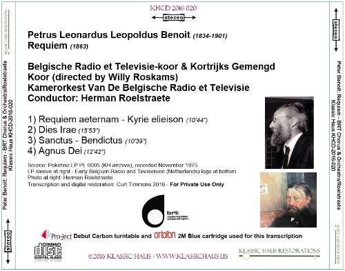 Second Additional product image for - Peter Benoit: Requiem - BRT Chorus & Orchestra/Herman Roelstraete