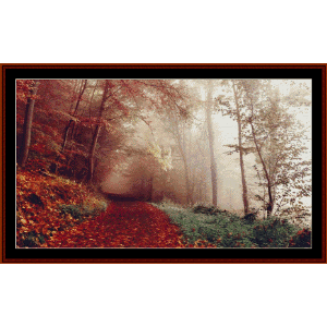 through the autumn forest - photograph cross stitch pattern by cross stitch collectibles