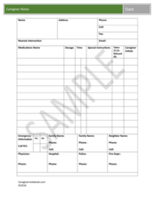 Second Additional product image for - Caregiver Notebook Forms