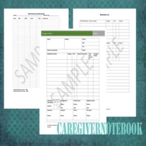 caregiver notebook forms