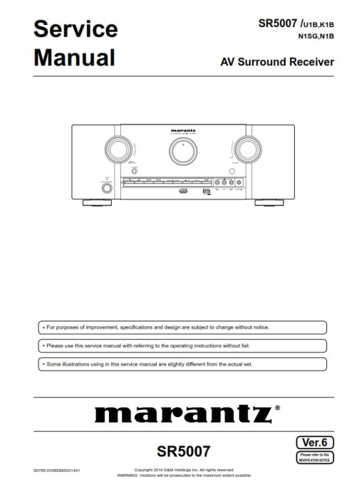 First Additional product image for - Marantz SR5007 receiver Service Manual