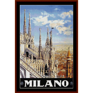 Milano - Vinttage Travel Poster cross stitch pattern by Cross Stitch Collectibles | Crafting | Cross-Stitch | Wall Hangings