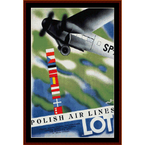 Lot, Polish Airlines - Vintage Travel Poster cross stitch pattern by Cross Stitch Collectibles | Crafting | Cross-Stitch | Wall Hangings