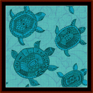 Abstract Turtles cross stitch pattern by Cross Stitch Collectibles | Crafting | Cross-Stitch | Wall Hangings