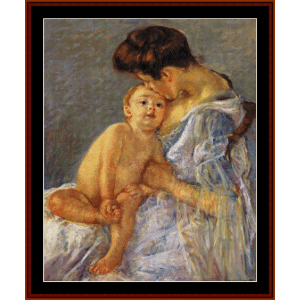 Sara Handing a Toy to the Baby - Cassatt cross stitch pattern by Cross Stitch Collectibles | Crafting | Cross-Stitch | Wall Hangings