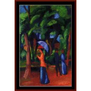 Walking in the Park - Macke cross stitch pattern by Cross Stitch Collectibles | Crafting | Cross-Stitch | Wall Hangings