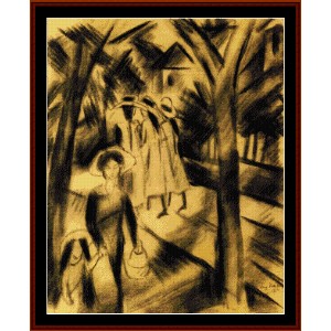 Woman with Children - Macke cross stitch pattern by Cross Stitch Collectibles | Crafting | Cross-Stitch | Wall Hangings