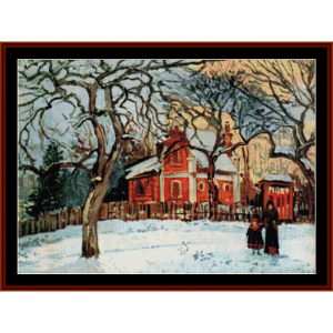 Chestnut Trees in Winter, 1872 - Pissarro cross stitch pattern by Cross Stitch Collectibles | Crafting | Cross-Stitch | Wall Hangings