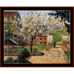 Flowering Plum Tree, 1894 - Pissarro cross stitch pattern by Cross Stitch Collectibles | Crafting | Cross-Stitch | Wall Hangings