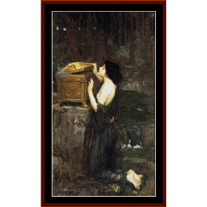 Pandora, 1898 - Waterhouse cross stitch pattern by Cross Stitch Collectibles | Crafting | Cross-Stitch | Wall Hangings
