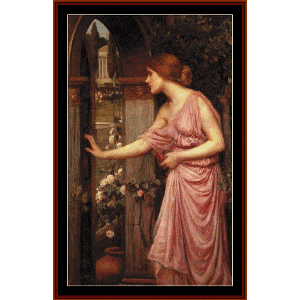 Psyche Entering Cupid's Garden - Waterhouse cross stitch pattern by Cross Stitch Collectibles | Crafting | Cross-Stitch | Wall Hangings