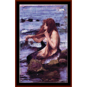 Sketch for a Mermaid - Waterhouse cross stitch pattern by Cross Stitch Collectibles | Crafting | Cross-Stitch | Wall Hangings