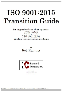 iso 9001:2015 transition guide
