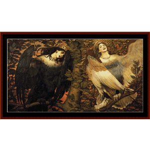 sirin and alkonost - bilbin cross stitch pattern by cross stitch collectibles