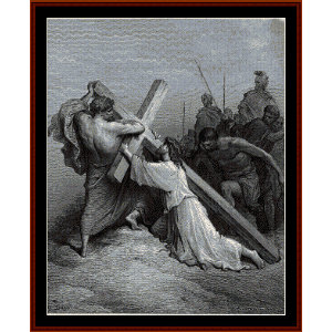 jesus falling beneath the cross - gustav dore cross stitch pattern by cross stitch collectibles