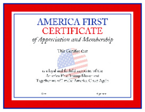 America First Certificate | Documents and Forms | Legal