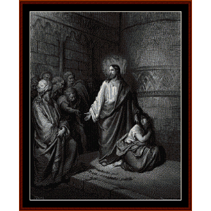 jesus and the adulteress - gustave dore cross stitch pattern by cross stitch collectibles