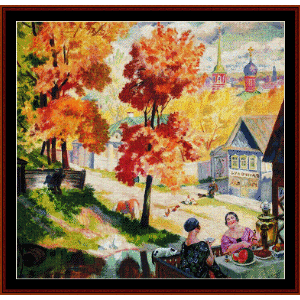 teatime in the autumn province, 1926 - kustodiev cross stitch pattern by cross stitch collectibles