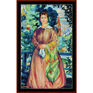 Merchant's Wife, 1919 - Kustodiev cross stitch pattern by Cross Stitch Collectibles | Crafting | Cross-Stitch | Wall Hangings