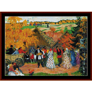 Autumn Holiday in the Village, 1914 - Kustodiev cross stitch pattern by Cross Stitch Collectibles | Crafting | Cross-Stitch | Wall Hangings