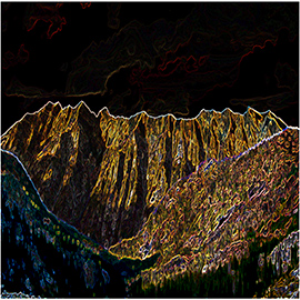 digital mountains with inward glow