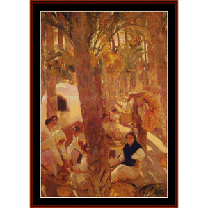 The Elche Palm Grove, 1918 - Sorolla cross stitch pattern by Cross Stitch Collectibles | Crafting | Cross-Stitch | Wall Hangings