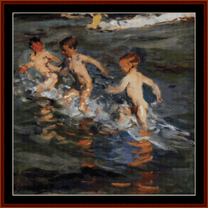Children at the Beach, 1899 - Sorolla cross stitch pattern by Cross Stitch Collectibles | Crafting | Cross-Stitch | Wall Hangings