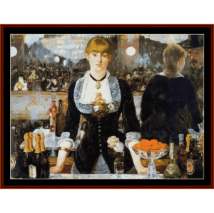 The Folies Berger, 1882 - Manet cross stitch pattern by Cross Stitch Collectibles | Crafting | Cross-Stitch | Wall Hangings
