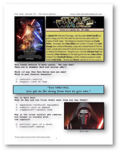 STAR WARS : THE FORCE AWAKENS, Whole-Movie English (ESL) Lesson | eBooks | Education