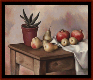 Still Life with Fruit, 1934 - Artur Carbonelli cross stitch pattern by Cross Stitch Collectibles | Crafting | Cross-Stitch | Other