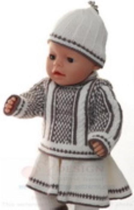 First Additional product image for - DollKnittingPatterns 0157D SOPHIA - Genser, skjørt, strømpebukse, lue og sokker-(Norsk)
